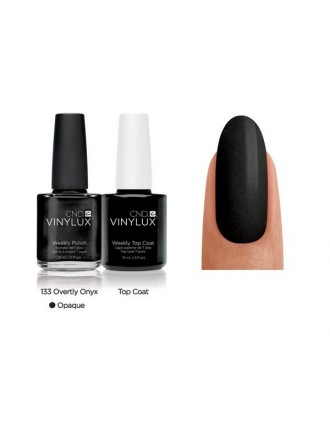 CND Overtly Onyx № 133 Темно серый с микроблеском, плотный.