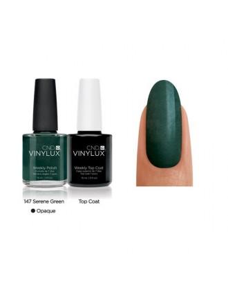CND Serene Green № 147 Темно зеленый, плотный, с микроблеском.