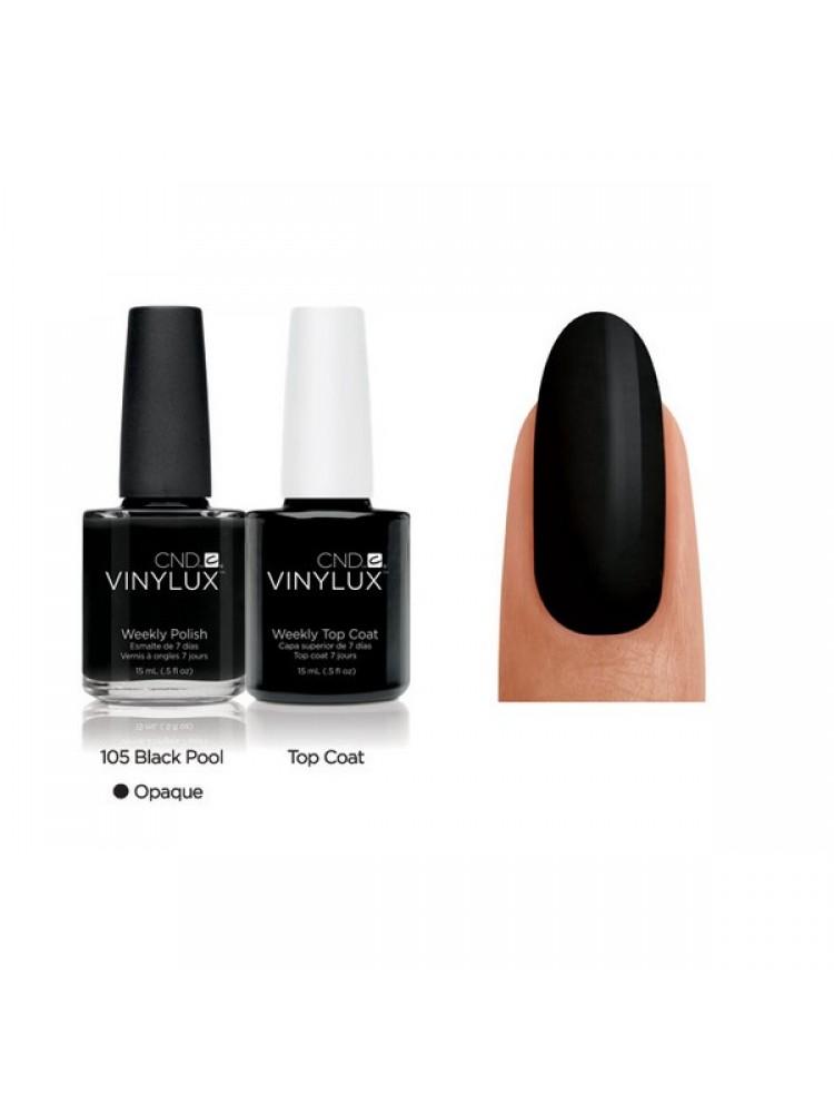 CND Black Pool № 105 Черный, эмалевый, плотный.