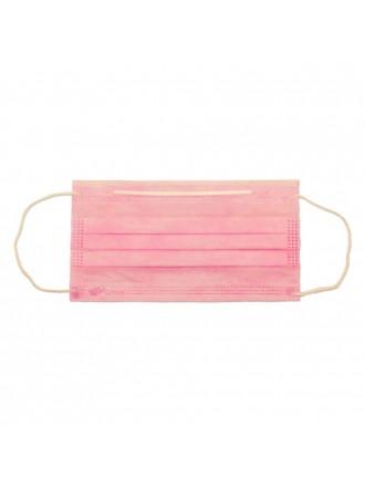 Маска одноразовая SMZ 3-слойная розовая на резинке (50 штук в упаковке) (Не медицинская.)
