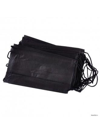 Маска медицинская трехслойная на резинке, черный, 5 шт.