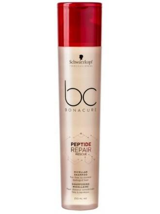 BC Bonacure Peptide Repair Rescue Шампунь мицеллярный для нормальных и тонких поврежденных волос, 250 мл